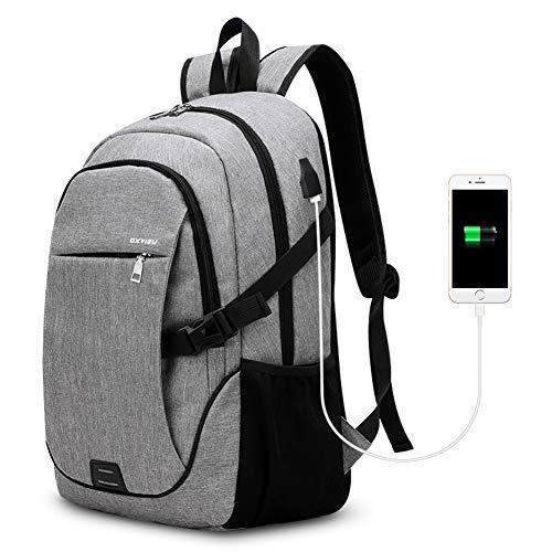 Laptop Rucksack Schulrucksack Schulranz SKL Notebook Rucksack Business Computer Tasche wasserdicht mit Anti-Theft Zip für Männer und Frauen, Schule, Arbeit, Reise - grau große Größe (bis zu 15,6 Zoll)
