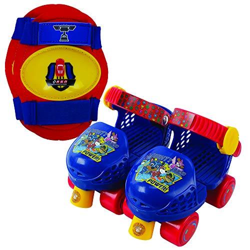 PlayWheels Adjustable PAW Patrol Children's Roller Skates and Knee Pads Set, Junior Size 6-12