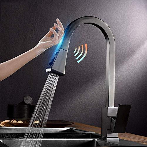 Grifos de cocina con rociador abatible Grifo de cocina de una manija sin contacto de acero inoxidable Grifo mezclador con sensor Negro