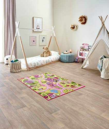 Carpet Studio Alfombra Carretera 95x133cm, Alfombra Infantil para Dormitorio & Cuarto de Jugar, Lavable a Máquina, Fácil de Limpiar, Anti-Deslizante - Sweet Town