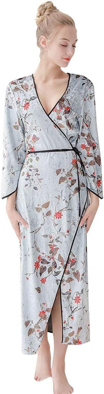 7 VEILS Women Printed Flower Velvet VNeck Robe Nightgown Sleepdress Dressgown Loungewear
