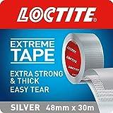Loctite Cinta adhesiva extrafuerte, extrafuerte, cinta plateada extra gruesa, impermeable, cinta adhesiva fácil de rasgar para reparaciones duras, plata, 48 mm x 30 m