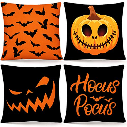 Whaline Halloween Pillow Cover Orange Black Pillow Case Pumpkin Bat Hocus Pocus Throw Cushion Cover Linen Cushion Cases for Home Office Halloween Sofa Bed Decoration, 18' x 18'(4Pcs)
