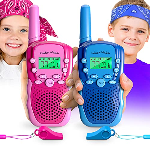 Waka Waka Walkie Talkies for Kids Outdoor Games – 2 Walkie Talkie Kids Toys & Matching Bandanas, Whistles – Two Way Radios with 1.86 Mi. (3 Km.) Range, 22 Channels, 38 Privacy Codes, Unisex Ages 3+