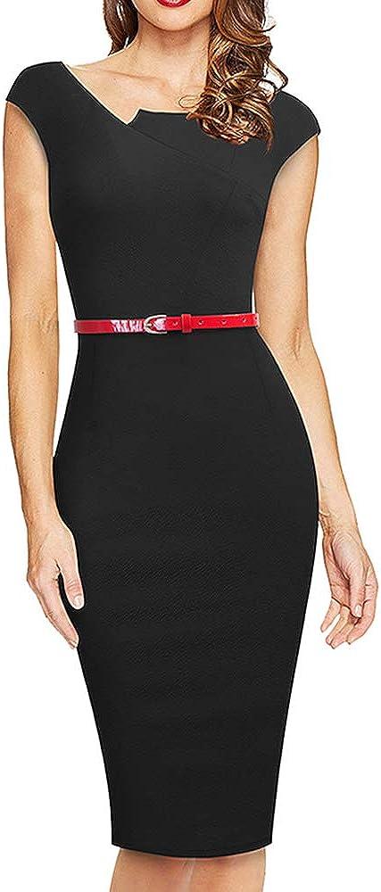 HOMEYEE Women's Vintage Asymmetrical Neckline Belted Business Sheath Dress B589
