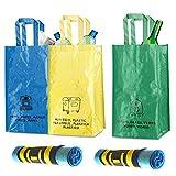 Natuiahan 3 Bolsas Reciclaje Duraderas. Robustas, Prácticas y Fáciles de Limpiar y Transportar. Incluye 30 Bolsas de Basura Perfumadas (30 L) Sin Fugas