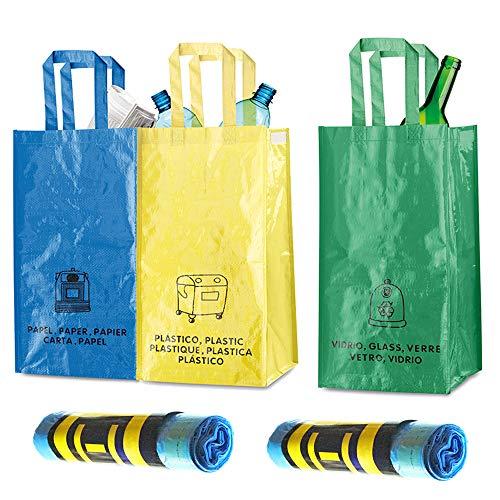 Natuiahan 3 Recycling-Beutel, Langlebig, Robust, Praktisch und Einfach zu Reinigen und zu Transportieren, inkl. 30 Duft-Müllbeutel (30 Liter) Ohne Luftblasen