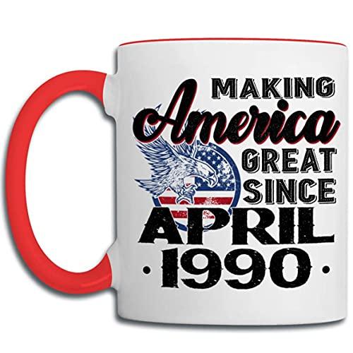 Tazas de 30 cumpleaños para hombres, mujeres, haciendo que Estados Unidos sea genial desde abril de 1990 Taza de café, regalo de cumpleaños para él, compañero de trabajo, día de la madre, día del padr
