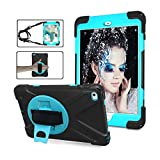 iPad Mini 4 Case, ZERMU Heavy Duty Three Layer Shockproof Rugged Cover Hard PC+Silicone Hybrid Impact Resistant Armor Case with Built-in Stand+Hand Strap+Shoulder Strap for iPad Mini 4 2015 Model