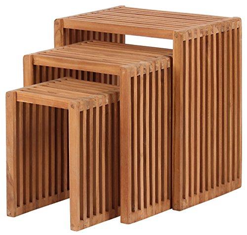 MR. DEKO Mr. Deko Teak Beistelltisch 3er Set - Teak - Tisch - Gartentisch - Outdoormöbel - Teakholz - für Balkon, Terrasse, Wintergarten, Garten