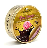 Simpkins ビーガンチョコレート中心のドロップローズトラベルスウィートティン、175 g Vegan Chocolate Centred Drops Rose Travel Sweet Tin, 175 g