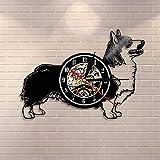 カーディガンウェルシュコーギー犬の壁時計犬の品種コーギービニールレコード壁時計子犬ペット家の装飾犬の愛好家のための壁アートギフト