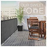 Balcony Deck Privacy Screen Cover – Heavy Duty 210 GSM, UV Weather Resistant, High Visibility Reduction – Includes Rope & Black Cable Ties for Porch, Patio, Apartment – Dark Gray or Grey, 3 ft X 16 ft