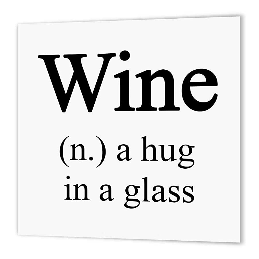 3dRose ht_202914_1 Wine a Hug in a Glass, Black Iron on Heat Transfer Paper for White Material, 8 by 8
