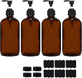 4 Pack 16 oz Amber Glass Boston Bottles with Pumps,Refillable Glass Pump Bottles for Essential Oils, Bath, Shampoo, Lotion...