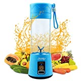 Portable Blender JXCOOP Personal Mixer Fruit Rechargeable with USB Strong Power Mini Blender for Smoothie Fruit Juice Milk Shakes 380ml Six 3D Blades for Great Mixing(Blue)