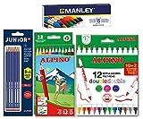 Lote material escolar Alpino: 12 lápices de colores + 12 rotuladores Double Double + 12 lápices de grafito + 15 ceras Manley, AL000966