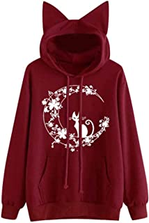 Women Christmas I'm a cat Print Comfy Soft Cute Teen Girls Casual Long Sleeve Velvet Hoodies Sweatshirt Pullover