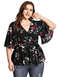 Romwe Women's Plus Size Floral Print Short/Long Sleeve Belt Tie Peplum Wrap Blouse Top Shirts Black 3XL