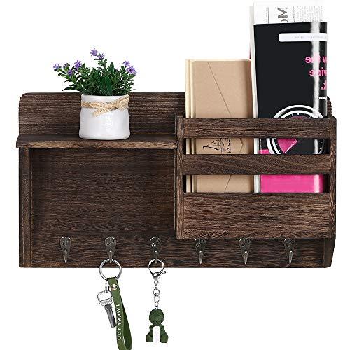 Schlüsselbrett mit Briefablage aus Holz Mail Sortierter mit 6 Schlüsselhaken für Briefen, Notizen, Schlüssel, Braun