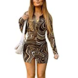 Women Sexy Dress Y2K 90s Vintage Printing Personality Slim Hot Dress Long Sleeve Summer Clothes Streetwear (Brown, L)