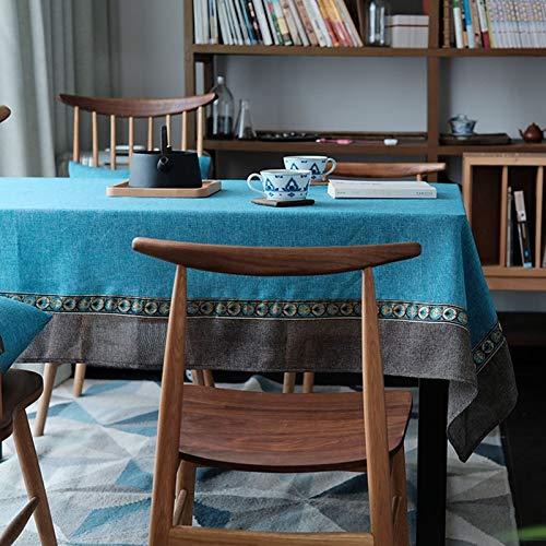 Daesar Mantel Mesa Rectangular,Mantel Antimanchas Poliester Simple Azul Café Mantel 120x120CM