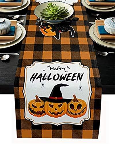 VJRQM Chemin de Table Happy Halloween Citrouille Chauve-Souris Orange Noir Buffalo Plaid Chemin de Table en Toile de Jute pour l'artisanat de décoration intérieure,Les fêtes,Thanksgiving,13x70 Pouces