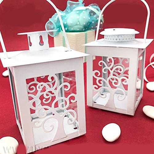 Lanterna bianca con albero della vita in metallo porta candela o a led, bomboniere originali matrimonio, anniversario, comunione, battesimo (E1T12384 - NO LED-con confezione arancione)