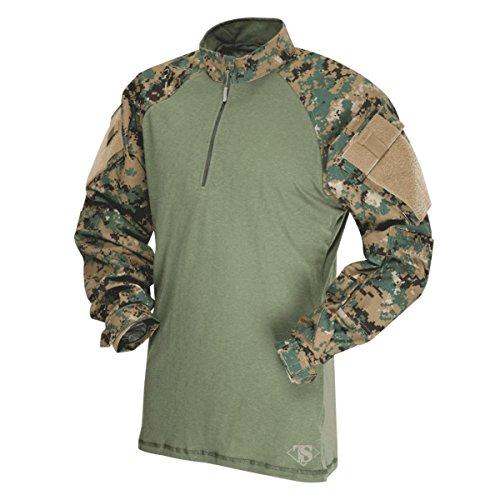 Tru-Spec Herren T.R.U 1/4 Zip Combat Shirt Hemd, Woodland Digital/Olive Drab, 3X-Groß
