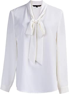 Women's Long Sleeve Chiffon Buttoned Down/Pullover Work Blouse Shirt with Bow Tie