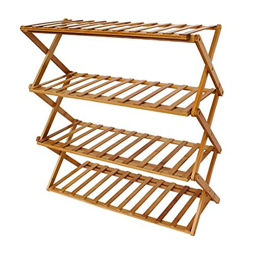 ZAPATERA Plegable de Bamboo. 100% Armada, lista para usarse. Organizador con 4 repisas para 12 pares de zapatos. Closet- muebles zapatero. Home Rack. Armario Expandible.