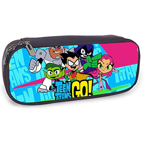 Teen Titans Go Pencil Case Big Capacity Double-Sided Printing Students Stationery Pouch Pen Bag for School Office Supplies