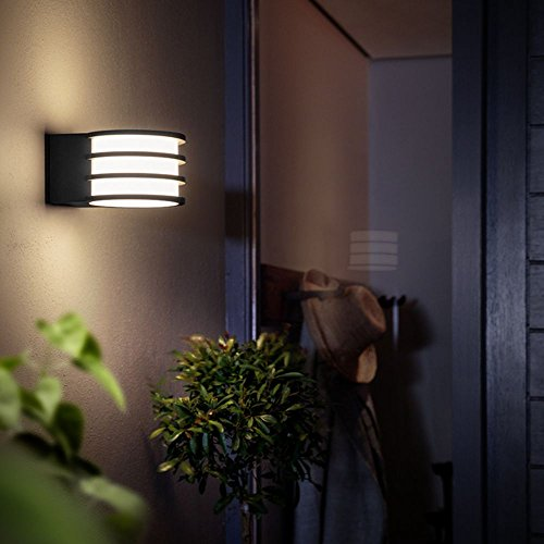 Philips Hue Lucca Led-wandlamp, antraciet, incl. Hue White | Hue-outdoorlamp, tuinlamp