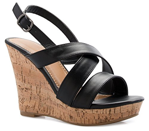 OLIVIA K Women's Open Toe T-Straps Strappy High Wedge Heel Wood Decoration Buckle Shoes Sandals,Black Pu,5.5 B(M) US