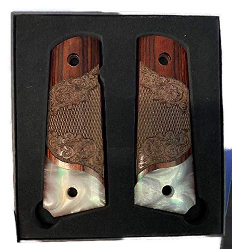 Premium Gun Grips Compatible Replacement for 1911 'Gentleman Grips' Colt Full Size Carved Rosewood Grips w/Faux Pearl Accent