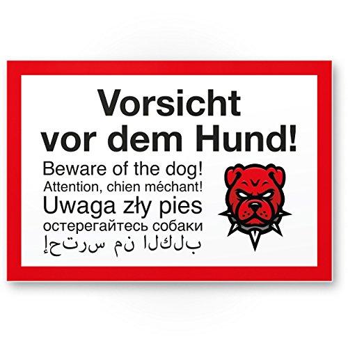 Vorsicht Hund mehrsprachig Angry Style, 6 Sprachen - Hunde Kunststoff Schild, Hinweisschild Grundstück - Türschild Haustüre, Warnschild/Einbruchschutz - Achtung Hund