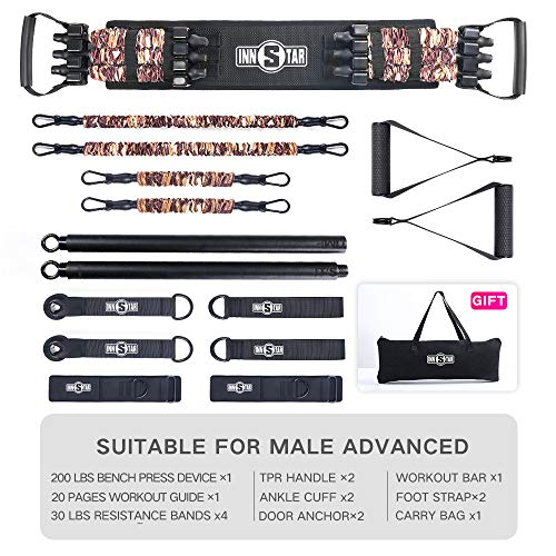 INNSTAR Home Gym Set, Home Resistance Workout Set with Workout Bar for Chest Training, Squat, Deadlift, Back Training, Portable Workout Set for Home, Gym & Travel (Camo Brown-200LB)