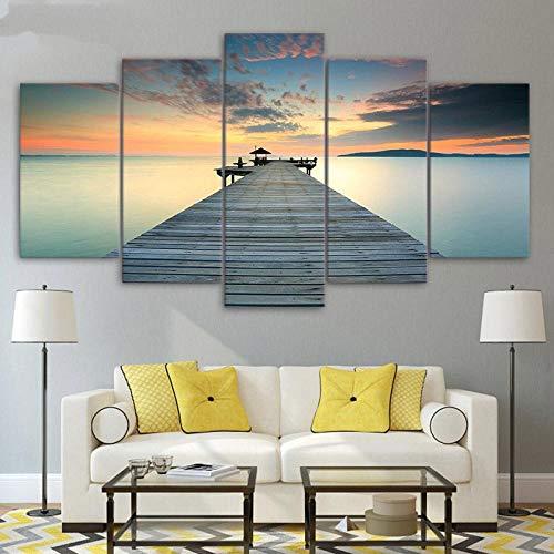 5 piezas de arte de la lona del muelle por la noche puente de la puesta del sol del mar cartel de la playa arte de la pared pintura de la lona decoración para el hogar vista al mar paisaje marino