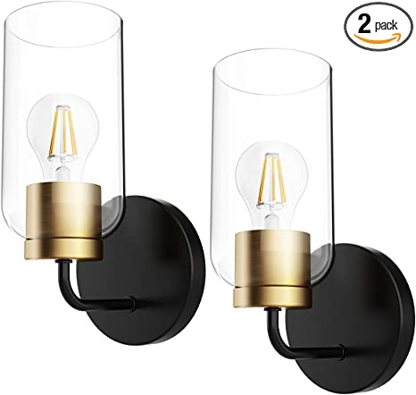 Hamilyeah Gold Wall Sconces Set Of Two Modern Bathroom Sconces Wall Lighting Fixture With Clear Glass Shade Black And Brass Vanity Wall Lamps For Living Room Kitchen Hallway Ul Listed