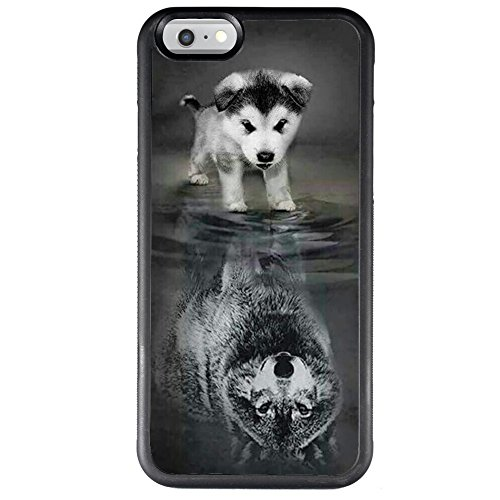 iPhone 6s Plus 6 Plus Case with Wolf Pattern Whimsical Design Bumper Black Soft TPU and PC Protection Anti-Slippery &Fingerprint Case for iPhone 6s Plus 6 Plus