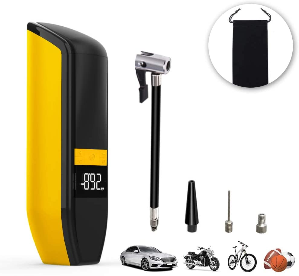 Palline Pompa per Elettrica con Luce di Emergenza Nero Moto Mini Gonfiatore per Pneumatici Aviski Compressore dAria Portatile con USB Batteria Ricaricabile 6000mAh Display Digitale per Bici
