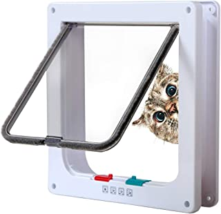 Rikounan Cat Door with 4 Way Locking,  Quiet Pet Doors for Cats,  Large Cat Doors for Interior Exterior Doors,  Easy Installation Premium Cat Flap Door for Cats Small Dogs