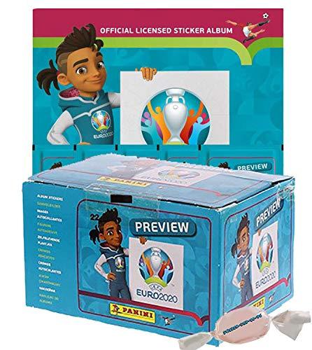Panini - EURO 2020 Sticker Preview - Sammelsticker - Leeralbum + 1 Diplay 120 Tüten zusätzlich 1 x Sticker-und-co-de Bonbon