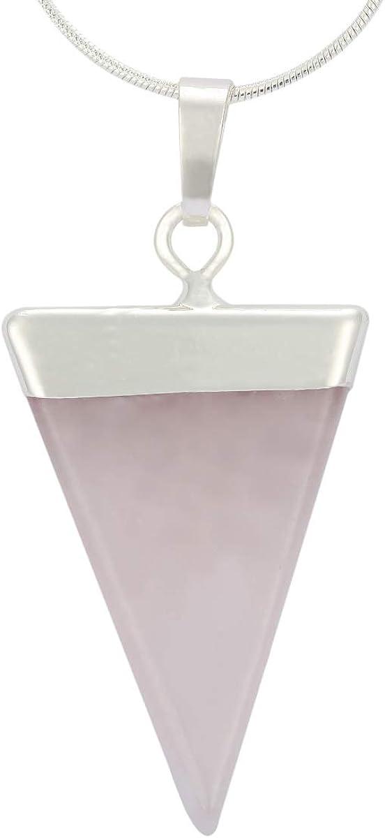 Natural Gemstone Pendant Necklace Healing Crystal Quartz Reiki Chakra Gem Stones 18 Inch Jewelry Women Girls Men Birthday Gifts