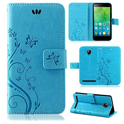 betterfon | Flower Case Handytasche Schutzhülle Blumen Klapptasche Handyhülle Handy Schale für Lenovo C2 Blau