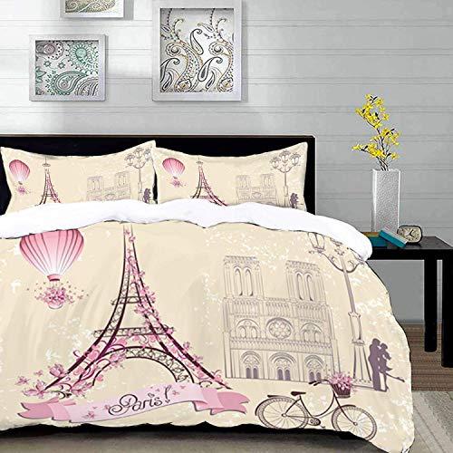 ropa de cama - Juego de funda nórdica, beso, símbolos florales de París Monumentos Torre Eiffel Globo aerostático Bicicleta Pareja romántica, marfil, funda de edredón de microfibra con 2 fundas de alm