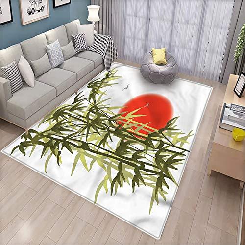 Alfombra de salón de bambú con diseño de pájaros, supersuave, de terciopelo, 6 x 9 cm