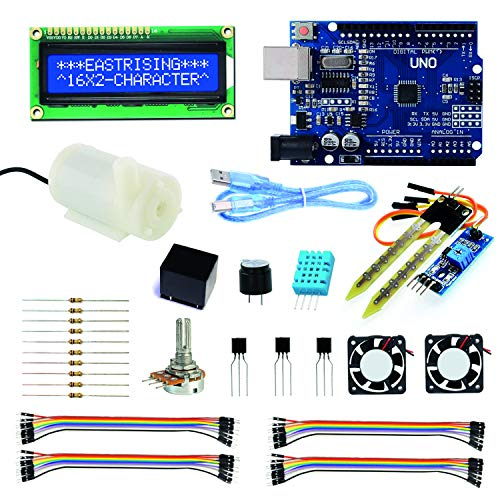 Arduino Casa Domotica Smart Greenhouse Project Set, Arduino kit Completo Italiano, Arduino UNO R3, DC Water Pump, 16x2 Character LCD Display, Sensor Module, DHT11