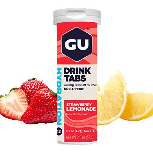 GU Hydration, Tabletas de Electrolitos Bebibles, Fresa - Limonada, 8 Piezas