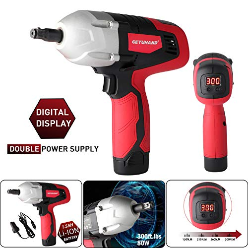GETUHAND Cordless Impact Wrench Kit, Double Power(Battery-Powered and Corded-Electric), Digital Display,Torque Adjustable, 300 ft-lbs 400 N.M Torque,12Volts&1/2 Inch Portable Car Impact Wrench